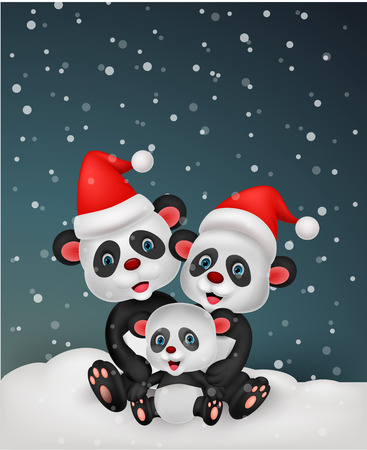 panda bear: Cute cartoon panda bear family  Illustration