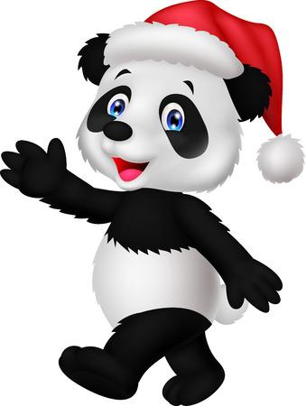 dessin animé Panda porter le chapeau rouge agitant la main Vecteurs