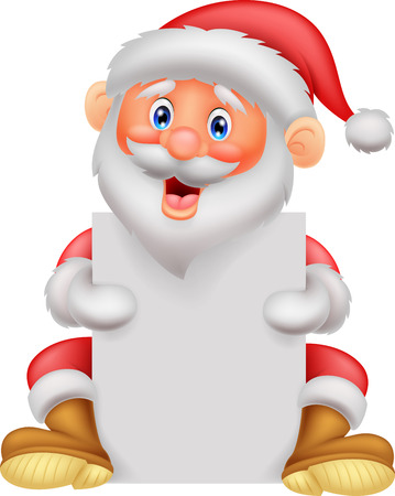 Cute santa cartoon holding blank paper  Vector