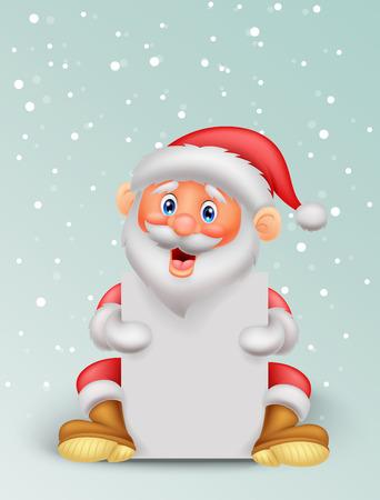 Cute santa cartoon holding blank paper  Vector