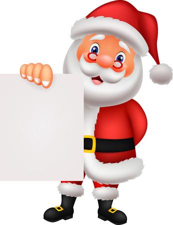 Santa cartoon with blank paper Stock Vector - 27166611