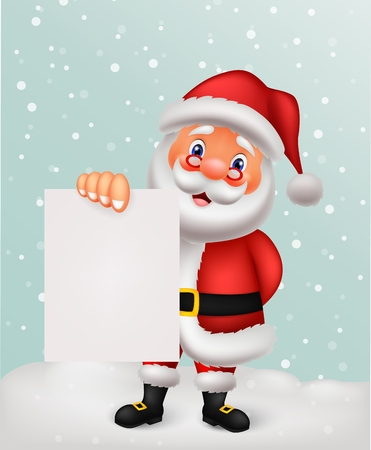 Santa cartoon with blank paper  Vector