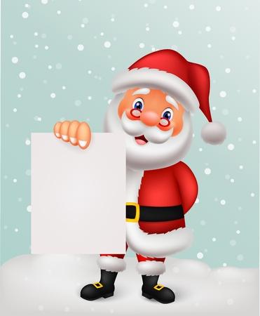 Santa cartoon with blank paper Stock Vector - 27166612