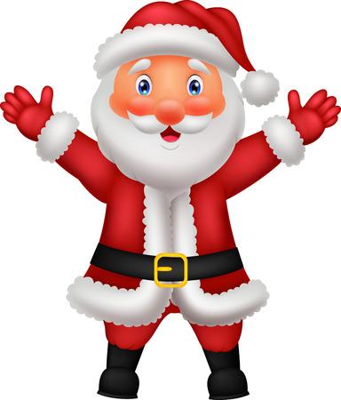 ho: Cute Santa cartoon waving hand
