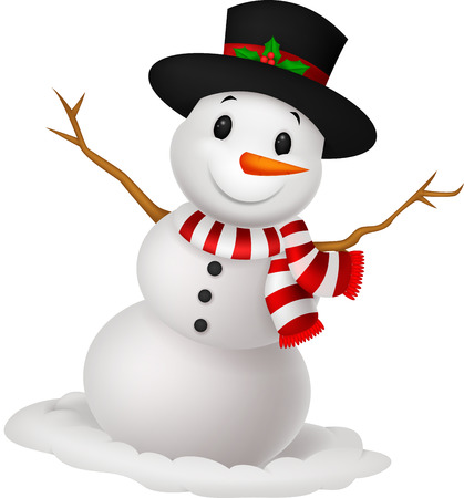 Christmas Snowman cartoon wearing a Hat and red scarf  Illustration