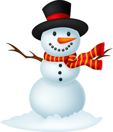 Christmas Snowman cartoon wearing a Hat and red scarf  Ilustrace