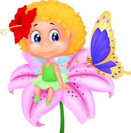 butterfly  angel: Baby fairy elf cartoon sitting on flower  Illustration