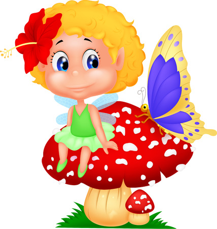 Baby fairy elf cartoon sitting on mushroom