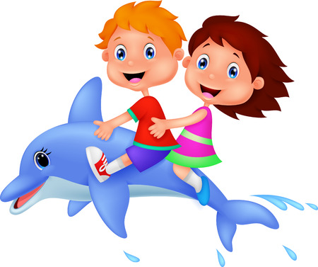 fiúk: Cartoon Boy and girl lovaglás egy delfin