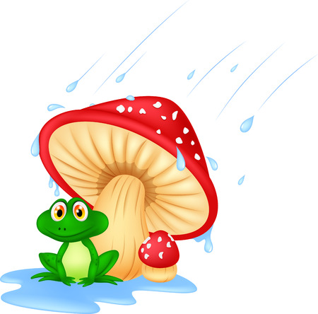 Mushroom with a toad cartoon Vector