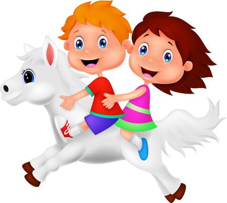 Cartoon Jongen en meisje een pony paardrijden Vector Illustratie