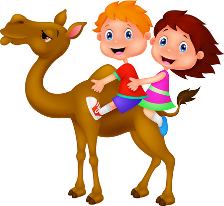 camel: Cartoon Boy and girl riding camel