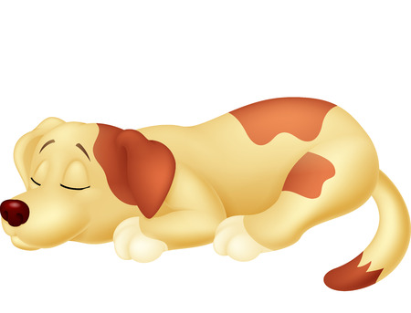 sleeping animals: Cute dog cartoon sleeping