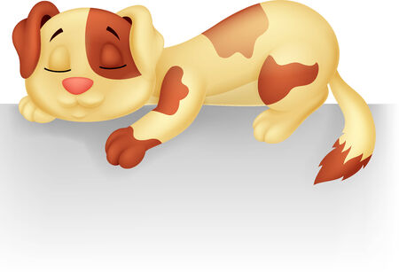dog sleeping: Cute dog cartoon sleeping on the white blank label