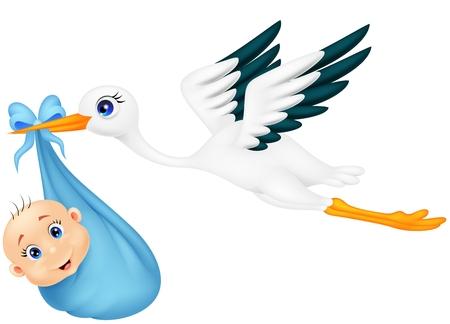 Cartoon Stork with baby
