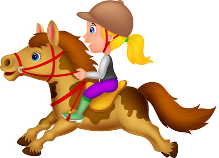 Horses: Cartoon Little girl riding a pony horse  Illustration