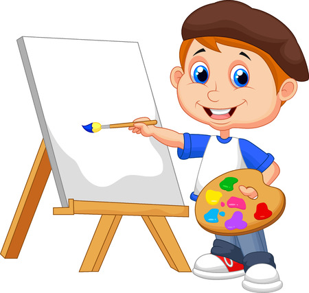 child learning: Cartoon boy painting  Illustration