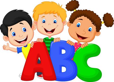 cartoon: Caricatura de niños escolares con ABC