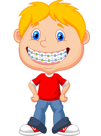 crooked teeth: Little boy cartoon with brackets