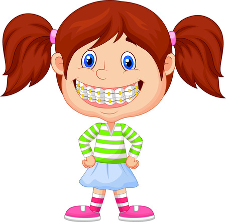 Little girl cartoon with brackets