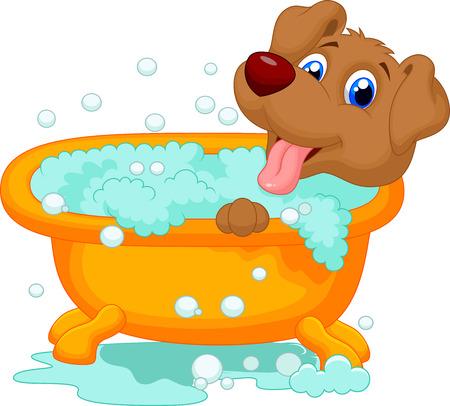 lavar: Tiempo de baño de perro de dibujos animados Vectores