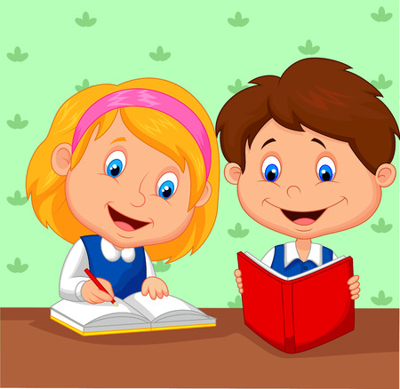 writing activity: Cartoon Boy and girl study together
