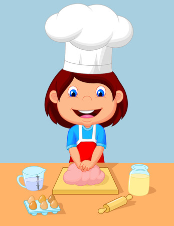 Little girl cartoon baking  Vector