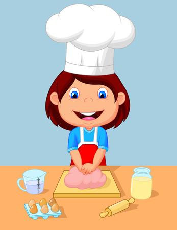 women s hat: Little girl cartoon baking  Illustration