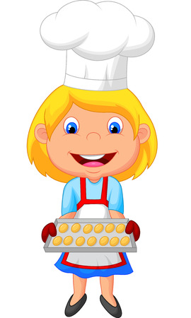 chef s hat: Little girl cartoon baking  Illustration