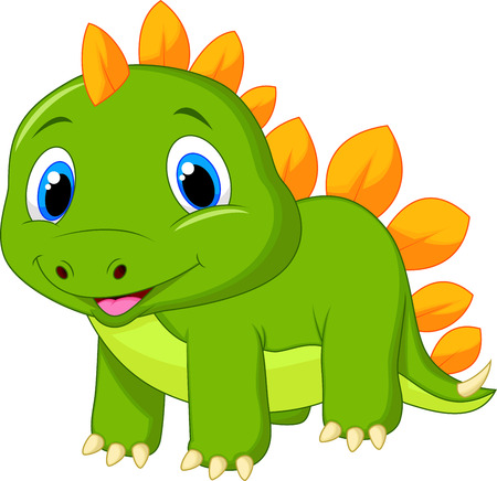 Cute baby stegosaurus cartoon Vector