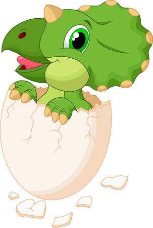 Cute dinosaur cartoon hatching Illustration