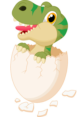 paleontological: Cute dinosaur cartoon hatching Illustration