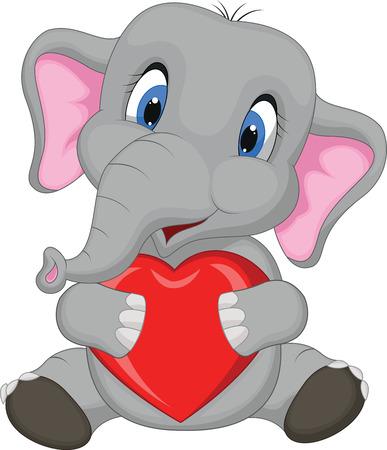 Cute elephant cartoon holding red heart Vector