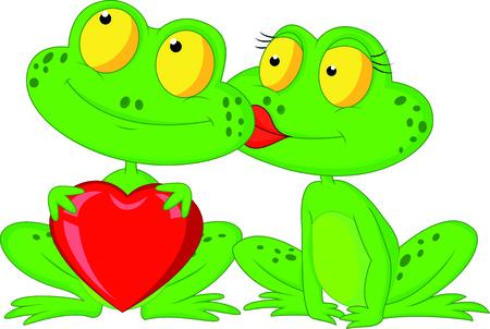 赤いハートを保持しているかわいい漫画カエル カップル  イラスト・ベクター素材