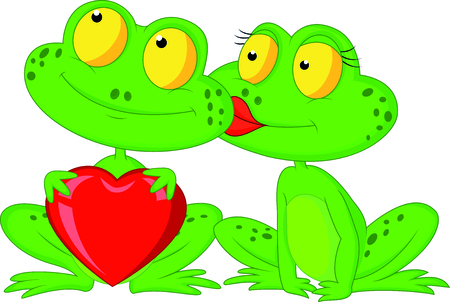 lip kiss: Cute cartoon frog couple holding red heart