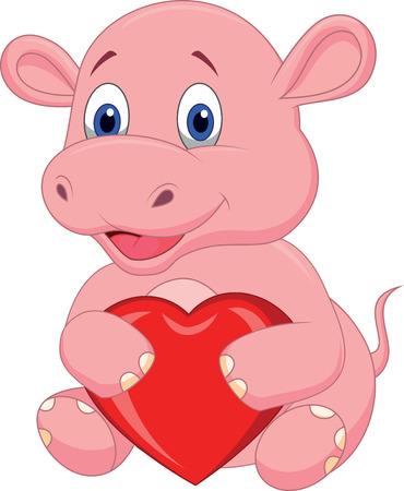 hipopotamo caricatura: De dibujos animados hipop�tamo con coraz�n rojo