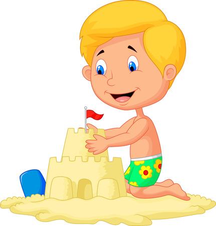 castle sand: Ni�o de dibujos animados haciendo el castillo de arena