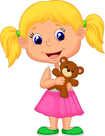 Kleines Mädchen Cartoon Halte Bär Zeug Vektorgrafik