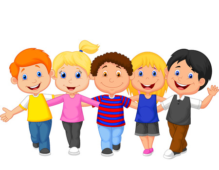 happy kids playing: Happy kid cartoon walking together