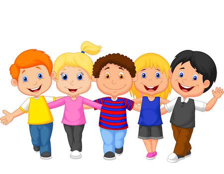 little girl cartoon: Happy kid cartoon walking together