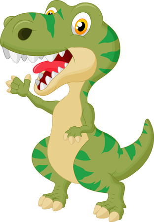 dragon head: Cute tyrannosaurus cartoon waving hand