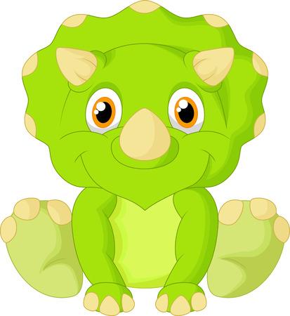 dinosauro: Carino Cartoon triceratopo Vettoriali