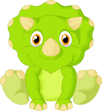 the red dragon: Cute triceratops cartoon