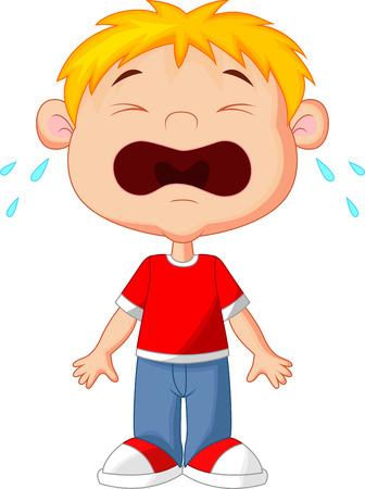 �nerv�e: Jeune bande dessin�e de gar�on pleurer