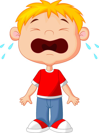 unhappy family: Young boy cartoon crying