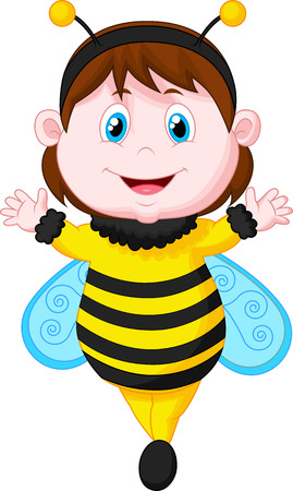 Little girl cartoon dressed as bee  Vector