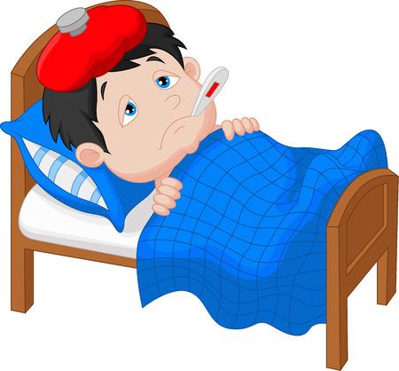 im bett liegen: Kranker Junge Cartoon im Bett
