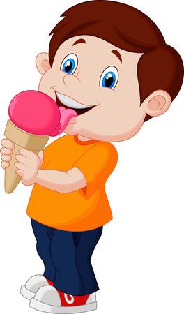 comiendo helado: Chico de dibujos animados lindo de la crema de hielo licking