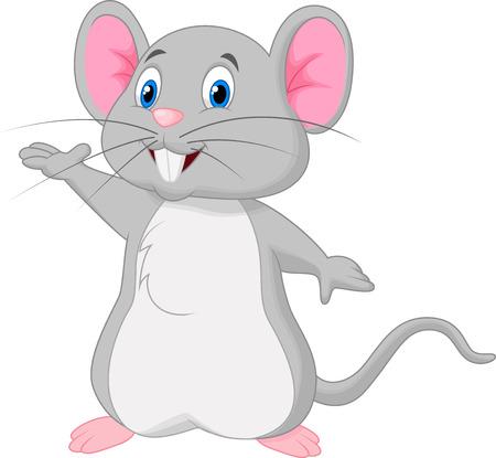 myszy: Cute myszy kreskówki machając Ilustracja