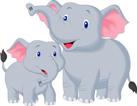 ママとベビーの象を漫画します。